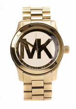 Women's Stainless Steel Strap Solid Gold Case Round Watches