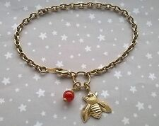 Vintage Style Gold Brass Honey Bee & Gemstone Carnelian Bead Bracelet Bumble 7.5