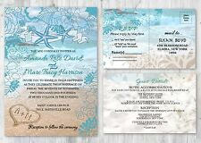 Beach Starfish Wedding Invitations with RSVP and Accommodation Cards Set of 50