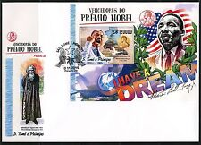 SAO TOME 2017  NOBEL PRIZE WINNERS FOR PEACE MARTIN LUTHER KING, Jr S/S  FDC