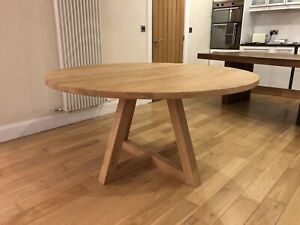1100mm - SOLID OAK ROUND CROSS LEG PEDESTAL TABLE - HAND CRAFTED - MADE TO ORDER
