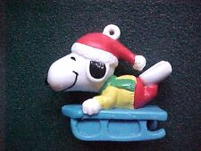 Miniature Peanuts Snoopy on Blue Sleigh Christmas Ornament