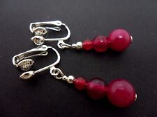 A PAIR OF FUCHIA BRIGHT PINK JADE DANGLY  CLIP ON  EARRINGS. NEW.