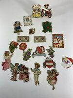 (21) Vintage Victorian Die Cut Valentine Card Lot Scrap Scrapbook Children Heart