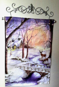 Lighted Winter Forest Deer Fiber Optic Wall Canvas w/ Scrolled Metal Hanger
