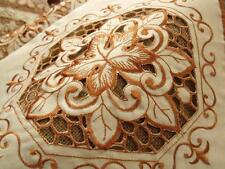"""UNIQUE Table Runner Cutwork Embroidery Golden -Maple Leaf-Beige 63"""" Long Pretty"""