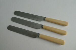 3 Firth Brearley Stainless Steel Round End Dessert Knives Henry Platts Sheffield