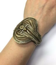 Fabulous! Vintage Large Filigree Lace Belt Buck Bracelet Bangle Silver Tone