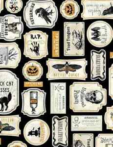 Fat Quarter Wicked Halloween Horror Patches 100% Cotton Quilting Fabric
