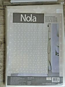 Nola Duschvorhang 150 x 200 cm mit weißen Sternen, 100% PEVA neu in OVP
