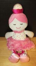 Baby Gear Plush cupcake baby doll sprinkles swirl dress pink hair satin shoes