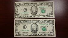 Lot of 2 Two Old $20 US Notes Bills (1990-1993) $40.00 Face Value