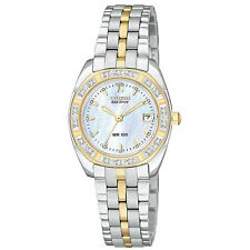 Citizen Eco Drive Paladion Ew1598-54d Women's 26mm MOP Dial Diamond Watch