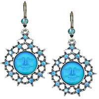 Kirks Folly Seaview Moon Starshine Leverback Earrings (Silvertone/Aqua)