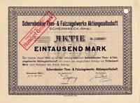 Schermbeck er Thon- & Falzziegel AG hist Aktie 1923 Wesel Lippe Haltern Nelskamp