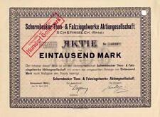 Lot 10 Schermbeck er Thon- & Falzziegel AG hist. Aktien 1923 Wesel Lippe Haltern