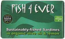 Fish 4 Ever MSC Whole Sardines in Organic Olive Oil and Lemon 120g (pack of 5)
