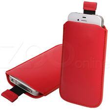 RED PU LEATHER PULL-UP POUCH COVER CASE SLEEVE FOR SAMSUNG CHAT CH@T 222 PHONE