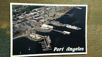 VINTAGE AIR VIEW PHOTO POST CARD PORT ANGELES WASHINGTON
