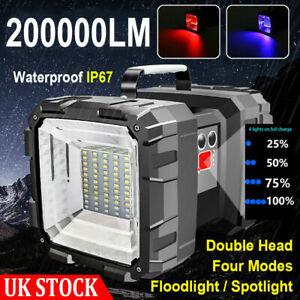 LED Handheld Spotlight Dual Head Flashlight USB Rechargeable Torch Searchlight