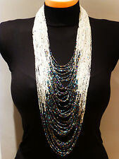 white blue beads multi strand statement necklace with earrings Kenya African