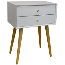 Solid Wood Side Table / Bedside Table with 2 Drawers - White / Pine KYS-203494WH