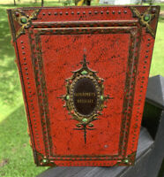 Vintage Gourmets Delights Victoria Biscuit Tin Book Shaped Holland Red & Gold