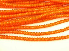 """26"""" matched orange white heart glass seed trade beads tribal components AA-0031"""