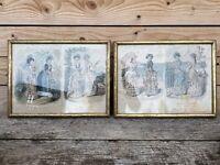 Lot de 2 Cadre Élégante Femme Costumé Vintage Gravure de Mode Lithographie