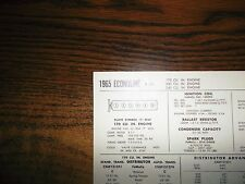 1965 Ford Econoline Series Models 170 200 240 L6 SUN Tune Up Chart Great Shape!