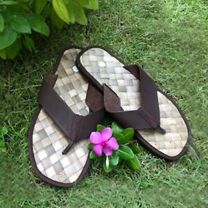 Thai Traditional Handcraf Adult Brown Flip Flop Sandal weaving spa Shoe