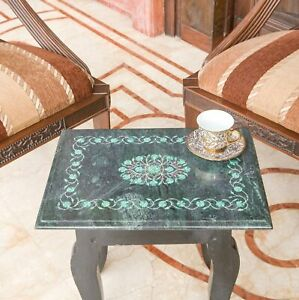 Marble Inlay Small Table, Marble Inlay Table Top Handmade Natural Stone Gift