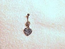 Heart Black White Zebra Print Belly Button Navel Ring Body Jewelry Piercing 14g
