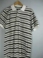 Chaps Men's Size Medium 100% Cotton Striped Short Sleeve Polo Shirt