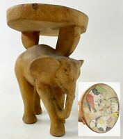 "Vintage 9"" ELEPHANT Hand Carved Wood Beaded Monkey Bird Top Plant Stand Pedestal"