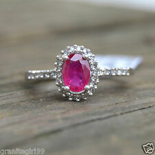 Genuine 1.16cts Ruby & Diamond Halo Wedding Engagement Ring 14k White Gold Sz 7