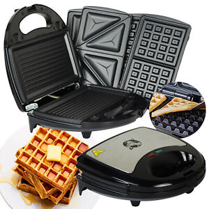 750W KITCHEN 3 IN 1 SANDWICH TOASTER WAFFLE MAKER IRON TOAST GRILL PANINI PRESS