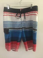 Quiksilver Board Shorts/Swimming Trunks - Men's size 34 - Blue/White/Red