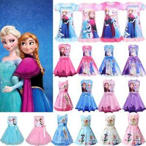 Die Eiskönigin Frozen Anna Elsa Kleid Kinder Mädchen Kleid Prinzessin Partykleid