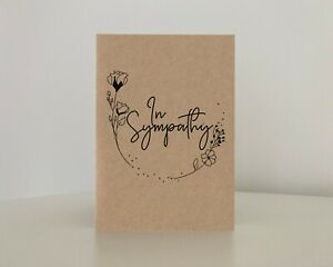 In sympathy card, floral illustration, Bereavement, loss, funeral card, Thinking