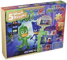 PJ Masks 5 Wood Puzzles In Wooden Storage Box