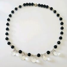 Vintage Crystal Glass Prism Dangles Glass Necklace Clear and Black