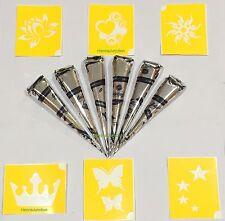 6 Black Color Henna Tattoo Cones + 6 Design Stencils Mehndi Temporary Body Kit