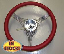 """15"""" Red Banjo Steering Wheel with Integrated  Splined GM Adapter - BANJO-RD"""