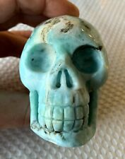 "Hand CARVED CRYSTAL SKULL - DOMINICAN LARIMAR - 3 1/8"" long VERY RARE (s28)"