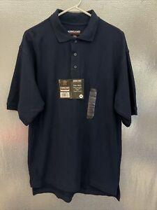Kirkland Signature Mens Sz M Blue Organic Cotton Short Sleeve Polo Shirt NWT