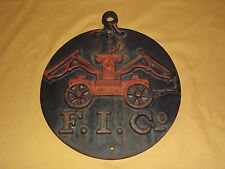 VINTAGE FIRE DEPT 1800S F.I. CO. CAST IRON FIRE INSURANCE SIGN PLAQUE 8 LBS