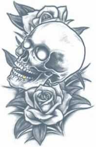 Tinsley Transfers Prison Time Skull and Roses Temporary Tattoo Halloween Makeup