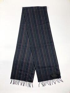 PRADA Gray Navy Purple Striped Cashmere Silk Fringed Scarf NWT