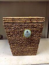 Hyacinth Woven Seagrass Toy Storage Organizer Bath Trash Can Basket Lid 14x14x16
